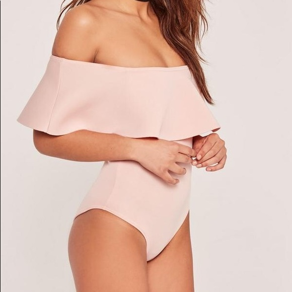 Missguided Tops - Blush Off The Shoulder Bodysuit